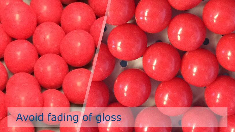 Preventing gloss fading of soft sugar candy