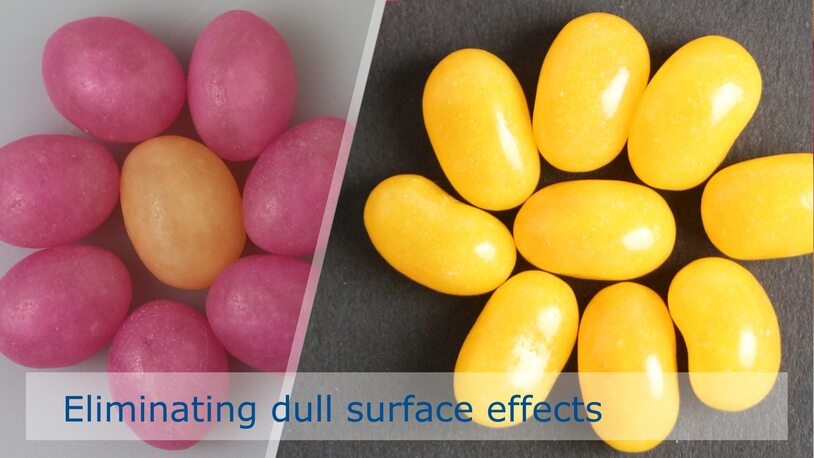 Preventing dull surfaces on sugar dragées