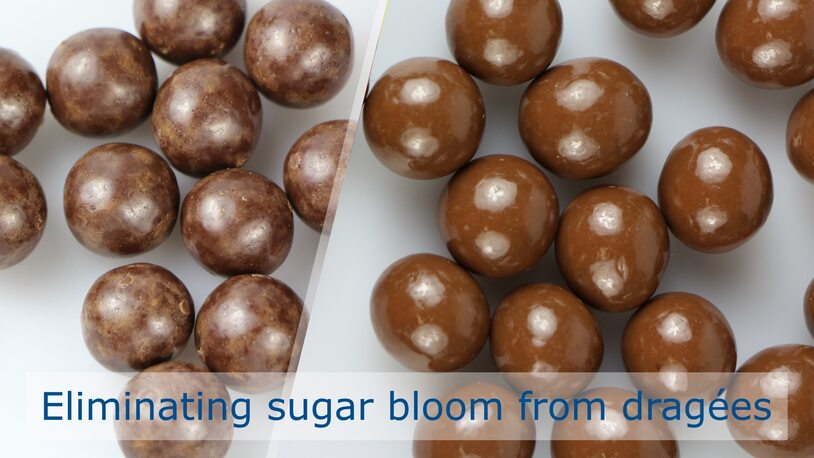 Preventing sugar bloom on chocolate dragées